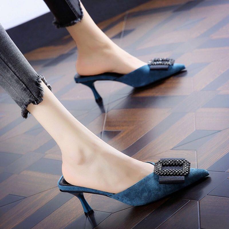 รองเท้าส้นสูง หัวแหลม ส้นเข็ม ใส่สบาย New Fshion รองเท้าคัชชูหัวแหลม  รองเท้าแฟชั่นรองเท้าส้นสูงของผู้หญิงรองเท้าแตะกริช