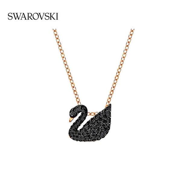 Swarovski ดำ Swan (เล็ก) ที่เป็นสัญลักษณ์ หงส์ แฟชั่นสร้อยคอคลาสสิก