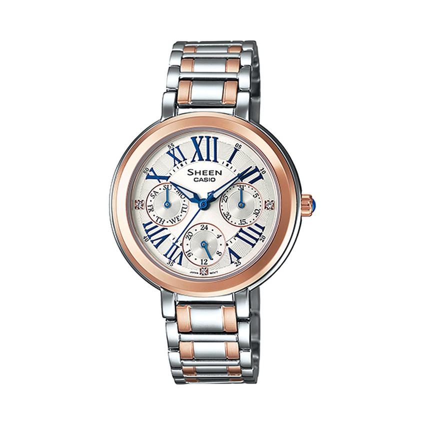 Casio Sheen นาฬิกาข้อมือผู้หญิง สายสแตนเลส รุ่น SHE-3034SG-7A - สีทองสลับเงิน