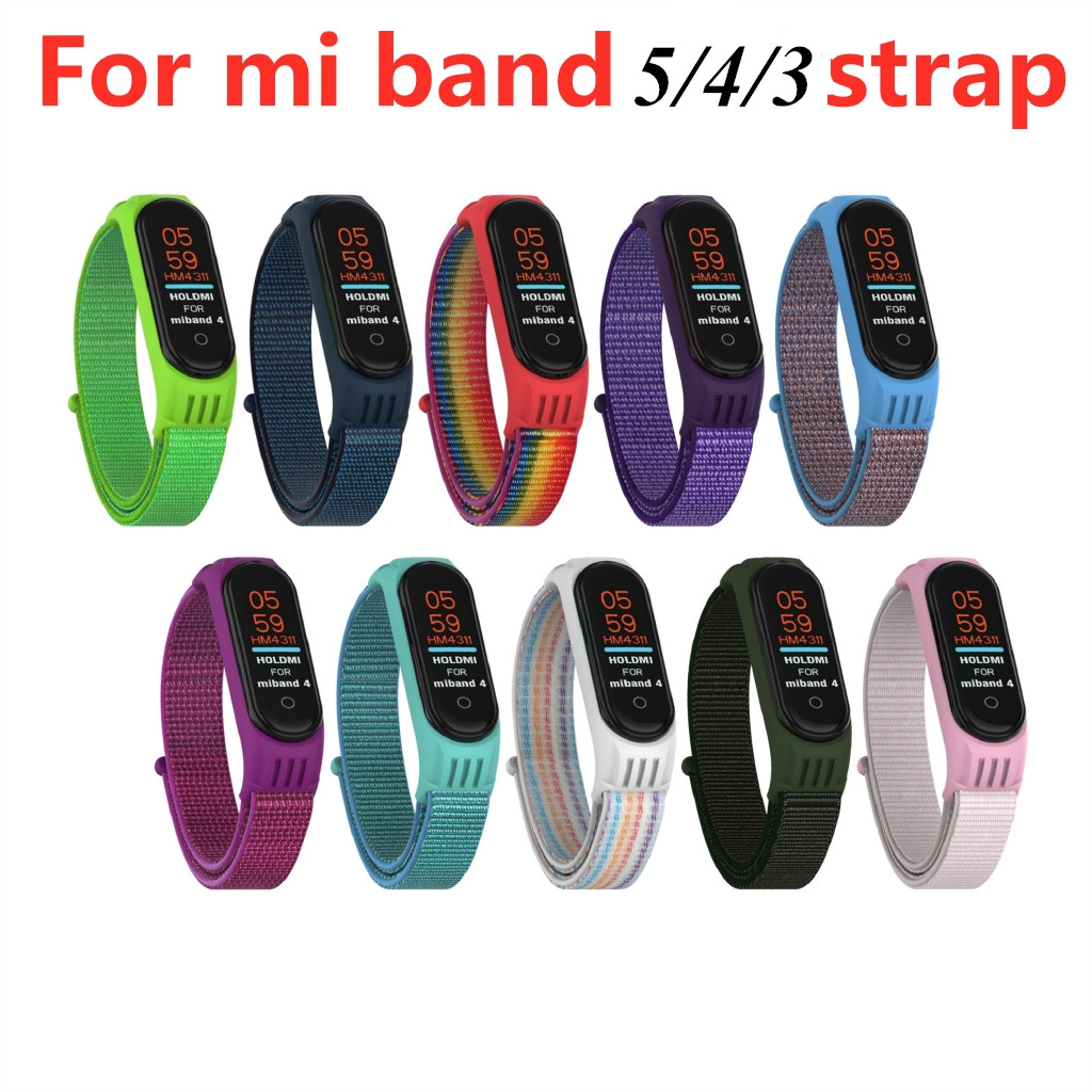 ใหม่ไนลอนซิลิโคนสร้อยข้อมือกีฬาสำหรับ Xiao Mi Mi Band 5 3 4 สายรัดข้อมือสำหรับ Xiao Mi Mi Band สร้อยข้อมือ Applewatch ห่วง Case นาฬิกาโทรศัพท์
