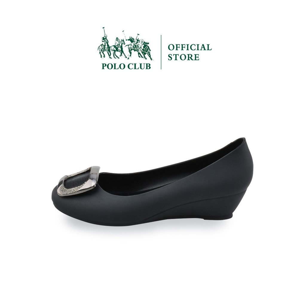 POLO CLUB  รองเท้าคัชชู ยาง หัวมน ส้นเตารีด  สีดำ รุ่น P1773