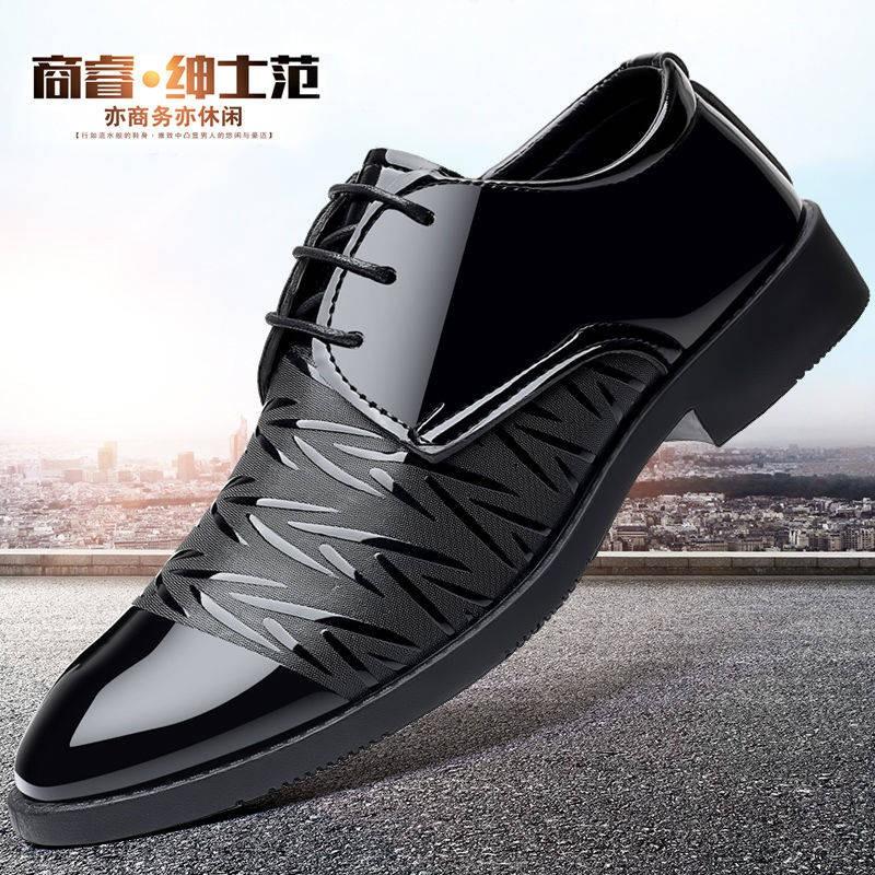 รองเท้าคัชชูผู้ชาย รองเท้าชาย รองเท้าผู้ชายรองเท้าผู้ชาย 2020 ฤดูใบไม้ผลิธุรกิจเยาวชนใหม่อังกฤษสีดำระบายอากาศสบาย ๆ รองเ