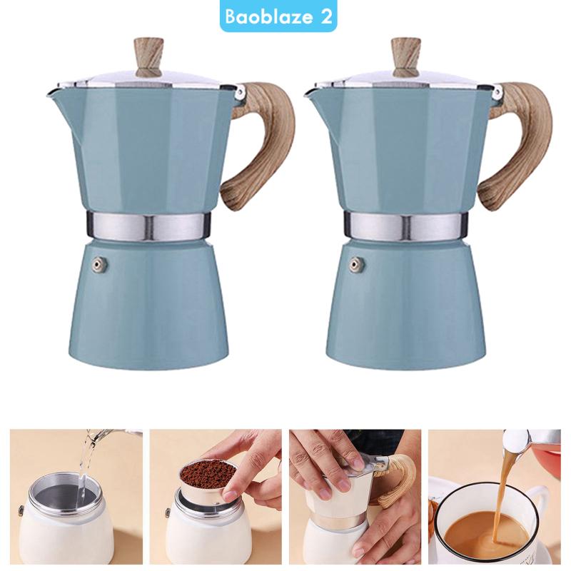 [BAOBLAZE2] เครื่องชงกาแฟ Moka 300 มล. สำหรับทำเอสเปรสโซ่ สีฟ้า