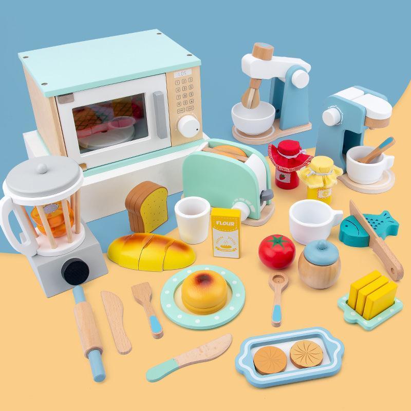 ▩ครัวไม้จำลองสำหรับเด็ก Play House ของเล่นเครื่องปั่นแพนเค้กเครื่องทำขนมปังเครื่องชงกาแฟเตาอบขนาดเล็กเด็กชายและเด็กหญิง