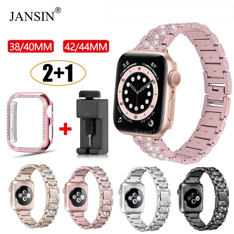 Strap + metal case Apple watch series 6, 5, 4 se, 40mm, 44mm, diamond, 42mm and 38mm Apple Watch Stainless Steel