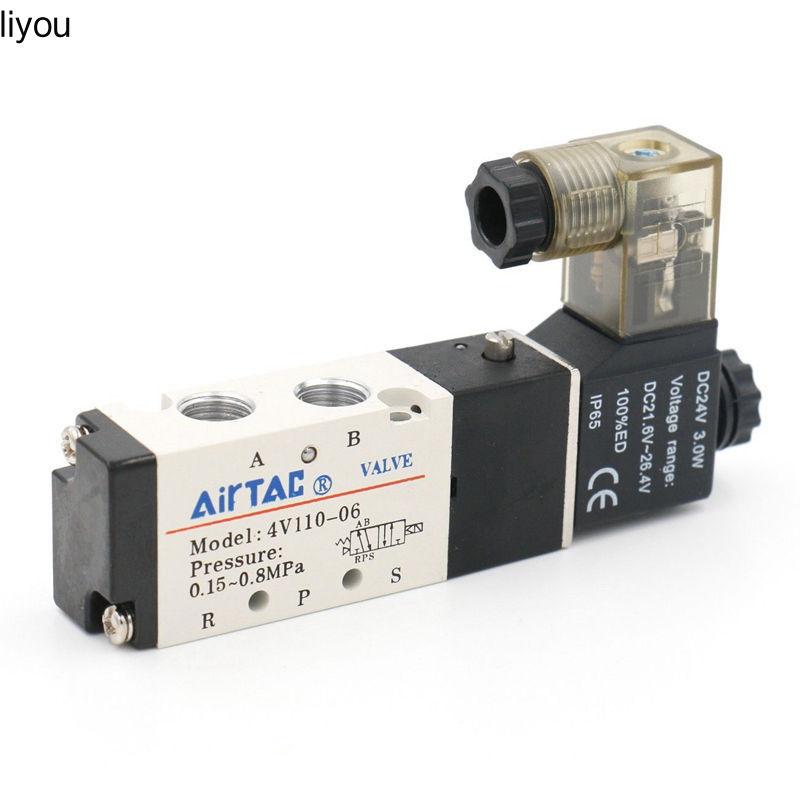 """Airtac 4V110-06 5 Way 2 ตําแหน่ง 1 / 8 """" วาล์ว Solenoidc 12V Ac 110 V Ac220V"""