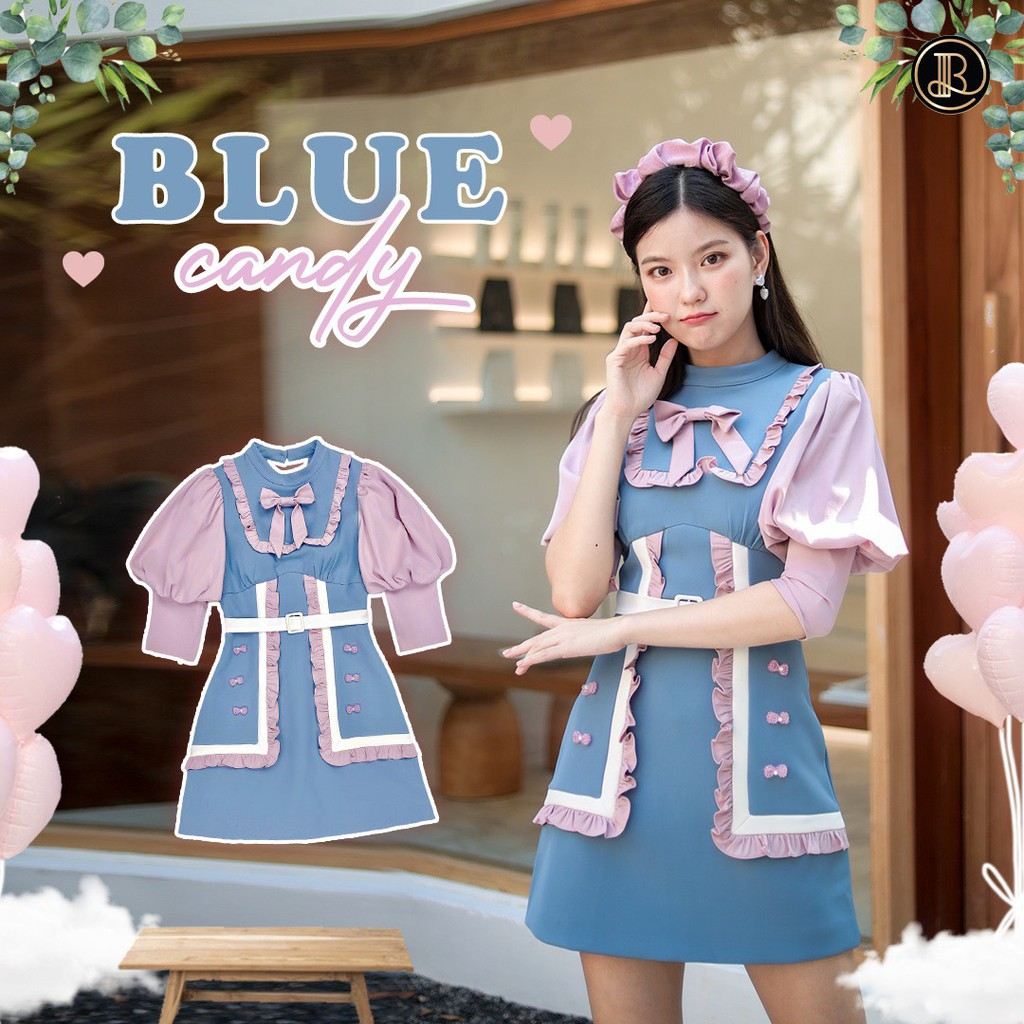 BLT BRAND การันตีเสื้อผ้าแบรนด์แท้ มินิเดรส สีฟ้าแขนสีชมพู BLUE CANDY เหลือแต่ Size XS 1 ชุดเท่านั้น