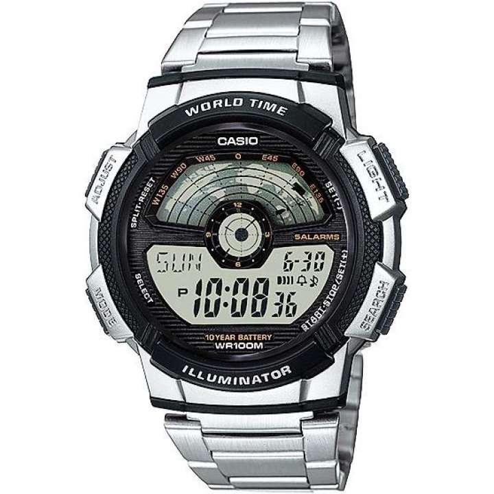 นาฬิกาสำหรับสุภาพบุรุษ นาฬิกา Casio แบตเตอรี่ 10 ปี World Time นาฬิกาข้อมือ สายสแตนเลส รุ่น AE-1100WD นาฬิกาของแท้