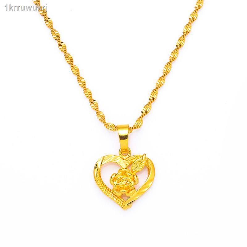 ราคาถูก ✼สร้อยคอทองคำแท้ปลอดภาษี Jurchen จี้ทองแฟชั่นสร้อยคอทองคำแท้ทุกชิ้นสำหรับผู้หญิงของขวัญสำหรับแฟน