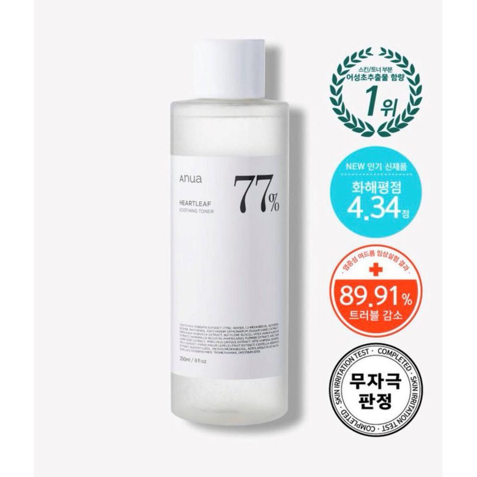 ♙✣┇พร้อมส่ง Anua Heartleaf 77% Soothing Toner 250ml./40ml.