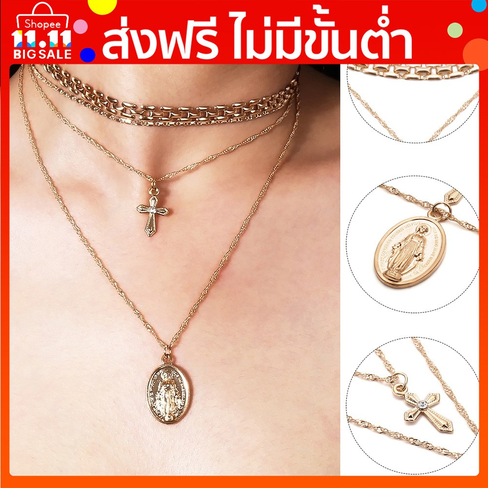 0dbecdce23 【11.11✓】 FreeShipping โค้ด __(GLAM30)_ ลด 30% Fashion Unique Alloy Cross Chain  Necklace Women Jewelry Gift | Shopee Thailand