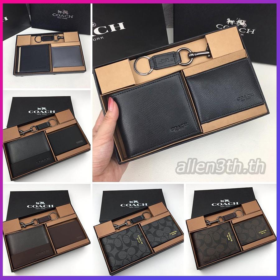 Coach แท้ F74974 F74688 F74634 F74586 กระเป๋าสตางค์ผู้ชาย / กระเป๋าสตางค์ใบสั้น / กระเป๋าสตางค์หนัง
