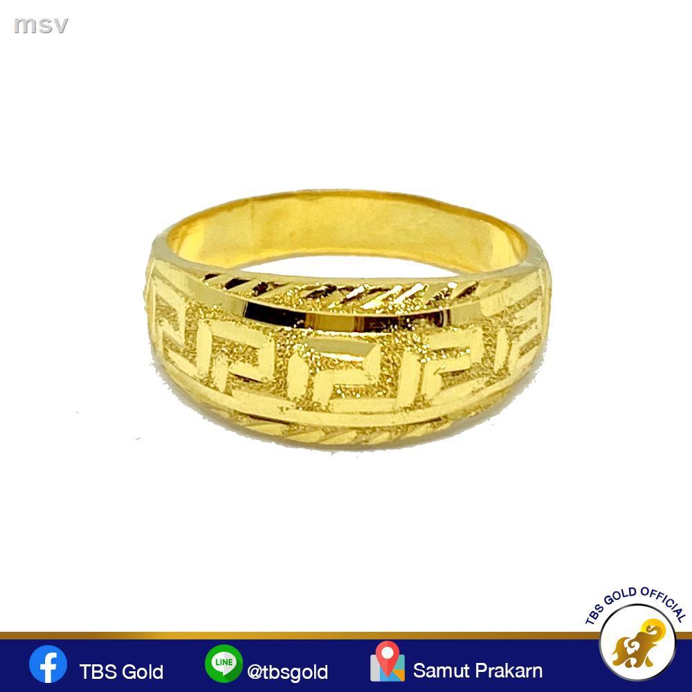 【มีสินค้า】🔥มีของพร้อมส่ง🔥ลดราคา🔥◑✸TBS แหวนทองครึ่งสลึง รวยวนไป V.2 หนัก 1.9 กรัม ทองคำแท้96.5% ขายได้ จำนำได้ มีใบ