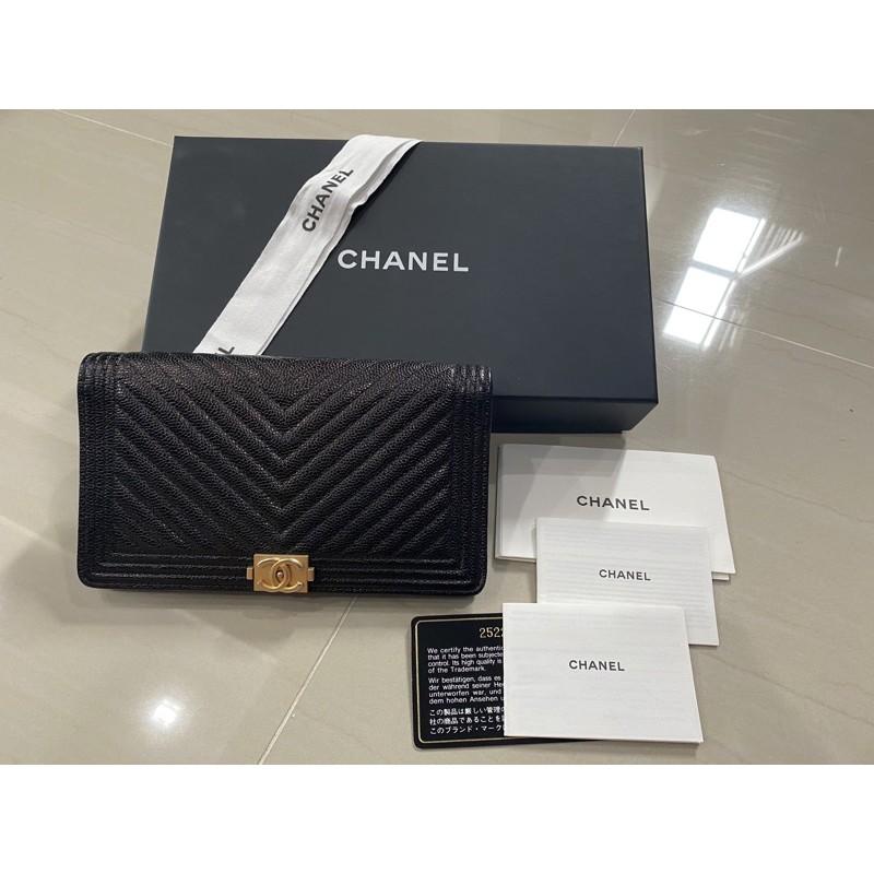 ขายแล้ว Used Chanel Boy Wallet Bifold ของแท้ 💯อะไหล่ทอง Holo25