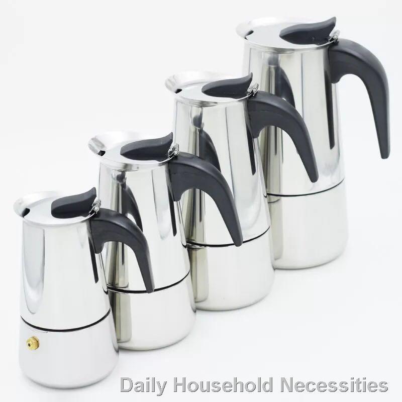 ราคาขายส่ง△ กาต้มกาแฟสดแบบพกพาสแตนเลส ขนาด 6 ถ้วยเล็ก 300 มล. หม้อต้มกาแฟแบบแรงดัน เครื่องทำกาแฟสด 300ml