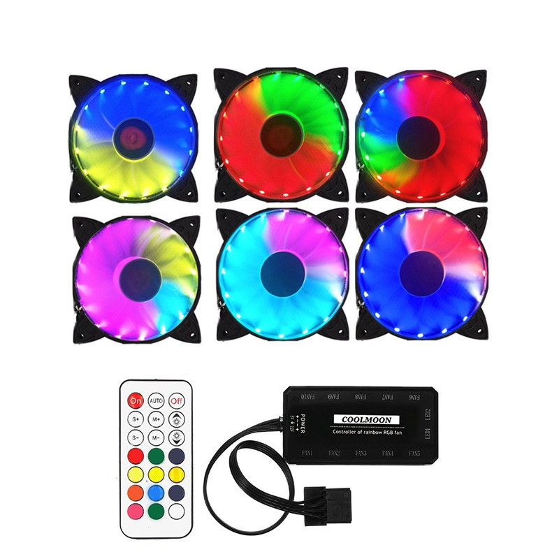 120mm Computer Case PC RGB Cooling Fan Adjust LED Quiet Cooler /& Remote Control