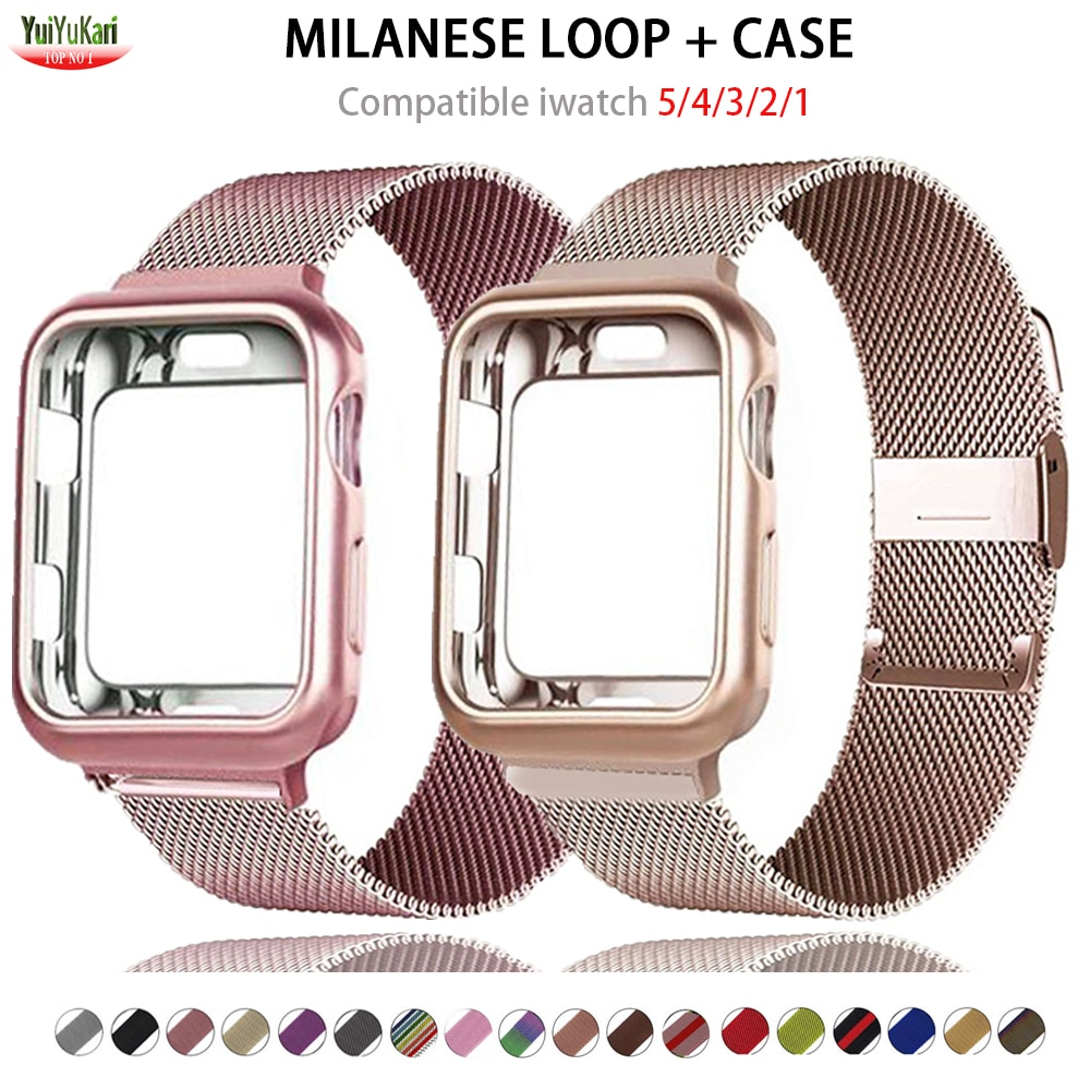 Case+strap for Apple Watch 6 band 44mm 40mm 42mm 38mm Metal belt Milanese Loop watchband bracelet applewatch series 5 4