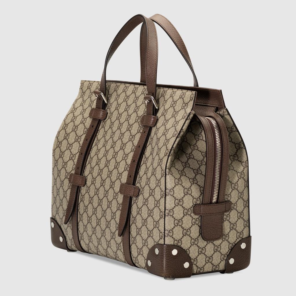 Gucci / สไตล์ใหม่ / หนังรายละเอียดกระเป๋าโท้ท / กระเป๋าเดินทางย้อนยุค / กระเป๋าถือ / กระเป๋าสะพายของแท้ 100% (จัดส่งฟรี)