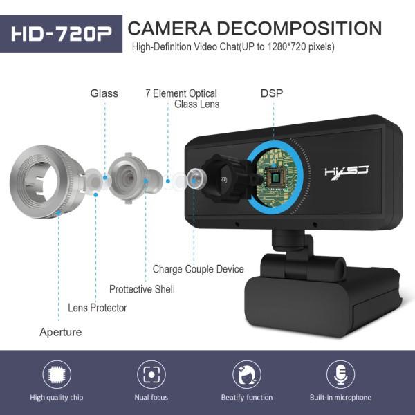 HXSJ S 90 HD Webcam 720 P Web Cam กล้องบันทึกวิดีโอหมุนได้ 360 องศา