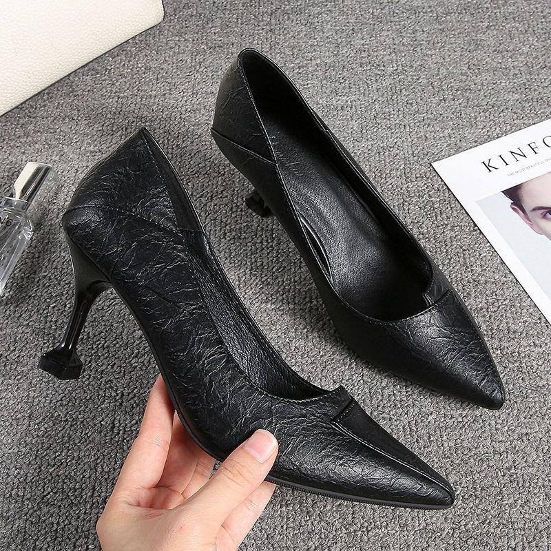 รองเท้าส้นสูง หัวแหลม ส้นเข็ม ใส่สบาย New Fshion รองเท้าคัชชูหัวแหลม  รองเท้าแฟชั่นรองเท้าส้นสูงหนังนิ่มของผู้หญิงฤดูใบไ