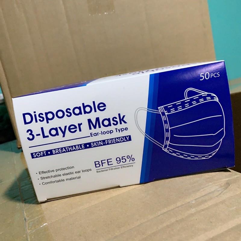 แมส หน้ากากอนามัย สีฟ้า ยกลัง50กล่อง