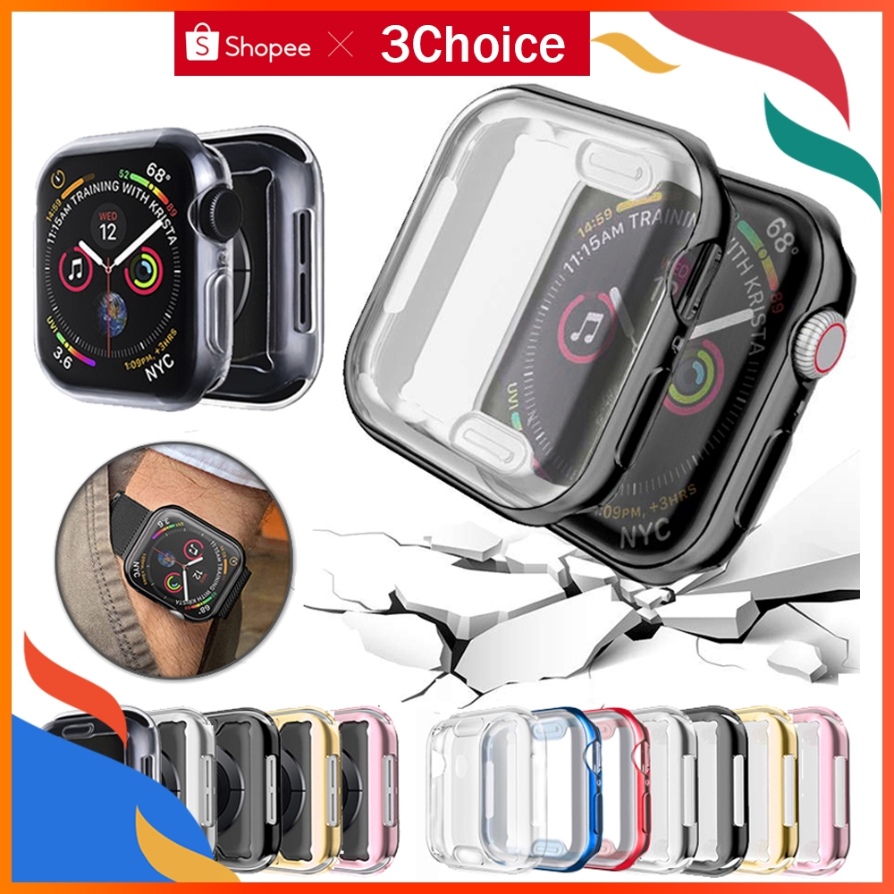 applewatch เคส applewatch series 5 3 4 1 2 iwatch 44 มม. 38 มม. 40 มม. 44 มม. case Screen Protector with Full Protection TPU Cover แบบบาง