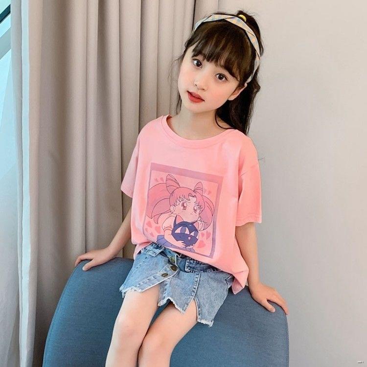 ยางยืดออกกําลังกาย№❧(เสื้อผ้าเด็ก)  เด็กผู้หญิงแขนสั้นเสื้อยืด 2020 ฤดูร้อนใหม่เกาหลีเสื้อผ้าเด็กต่างประเทศเด็กใหญ่ในช่