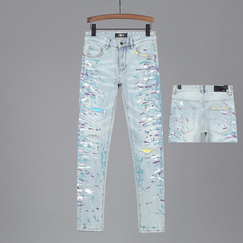 มีความยืดหยุ่นAMIRI Amiriบางกางเกงกางเกงยีนส์โคบาลรูฟ้าอ่อนสีหัตถกรรม amiri jeans