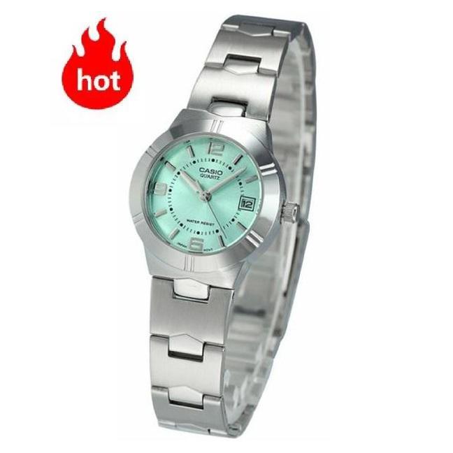 Casio นาฬิกาข้อมือผู้หญิง รุ่น LTP-1241D-3A- สายสแตนเลส หน้าปัดสีเขียวอ่อน - มั่นใจ ของแท้ 100% ประกันศูนย์ CMG 1 ปีเต็ม