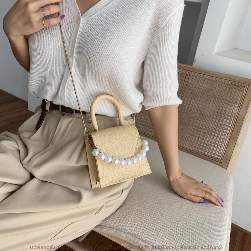 🔥พร้อมส่งทันที🔥😘 fashion Lady🍓มุกสะพายสไตล์ใหม่กระเป๋าเดินทางรูปถ่ายกระเป๋าใบเล็กและกระ A2-083