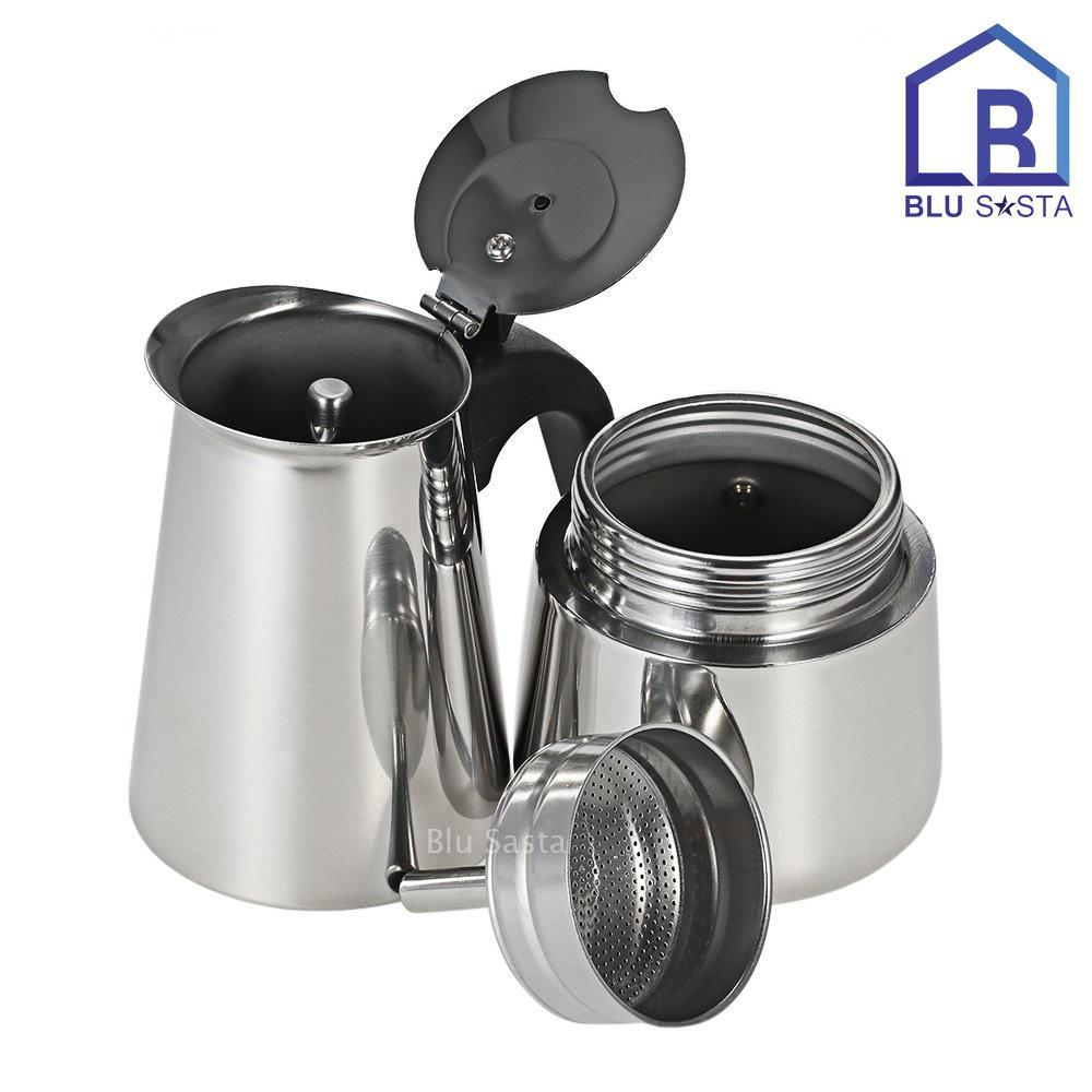 ▫℡▽Blu Sasta กาต้มกาแฟสดพกพาสแตนเลส ขนาด 6 ถ้วยเล็ก 300 มล. หม้อต้มกาแฟแรงดัน เครื่องทำกาแฟสด โมก้าพอท มอคค่าพอท moka po
