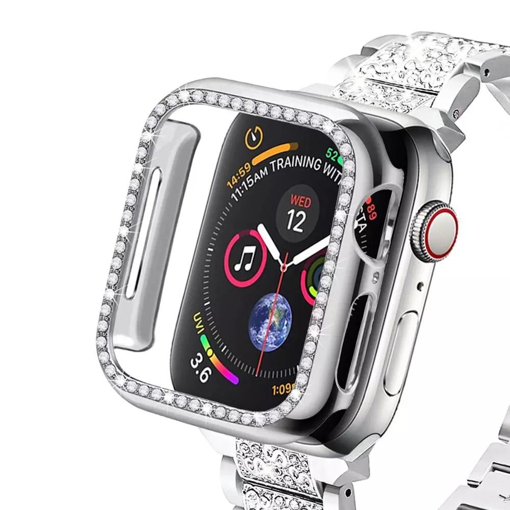 Applewatch Series 6 5 4 3 2 1 SE สายนาฬิกาข้อมือเพชรสุดหรู ฝาครอบกรณี Apple Watch Band 44mm 40mm 42mm 38mm กรณี IWatch Luxury diamond watchband case cover  Apple Accessories