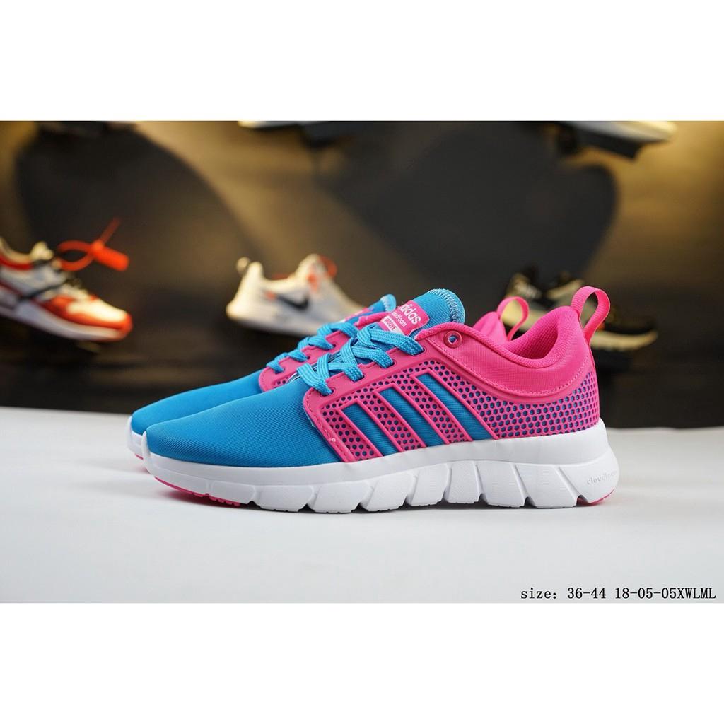 adidas neo รองเท้าผ้าใบวิ่งชายสีฟ้าชมพู