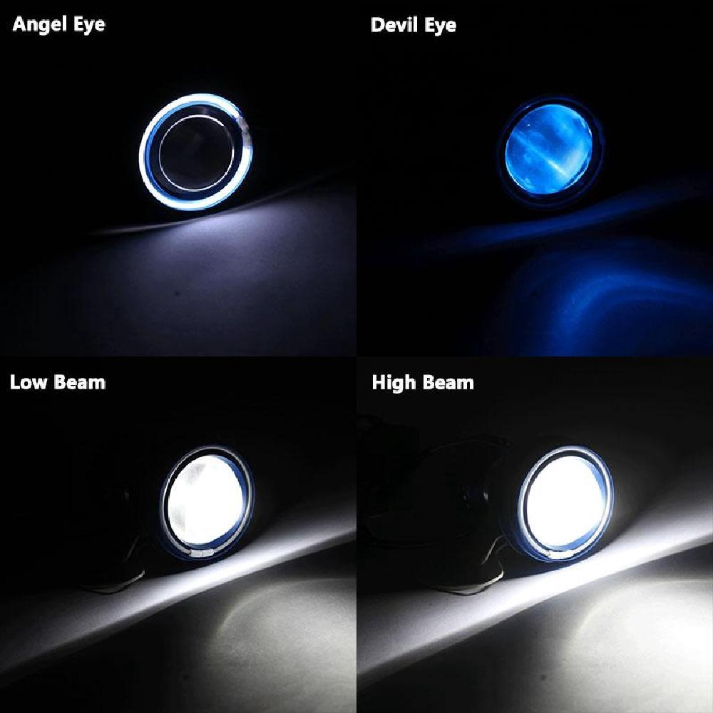 "2.75/"" Universal Motorcycle LED Projector Headlight White Angel /& Red Devil Eye"