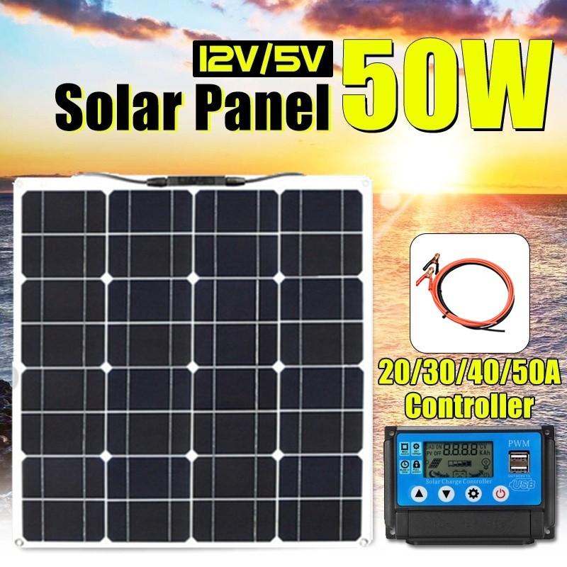 แผงพลังงานแสงอาทิตย์50 W 16 V + 10 A / 20 A 12v / 24v Pwm 12v ไฟ Led สําหรับติดรถยนต์