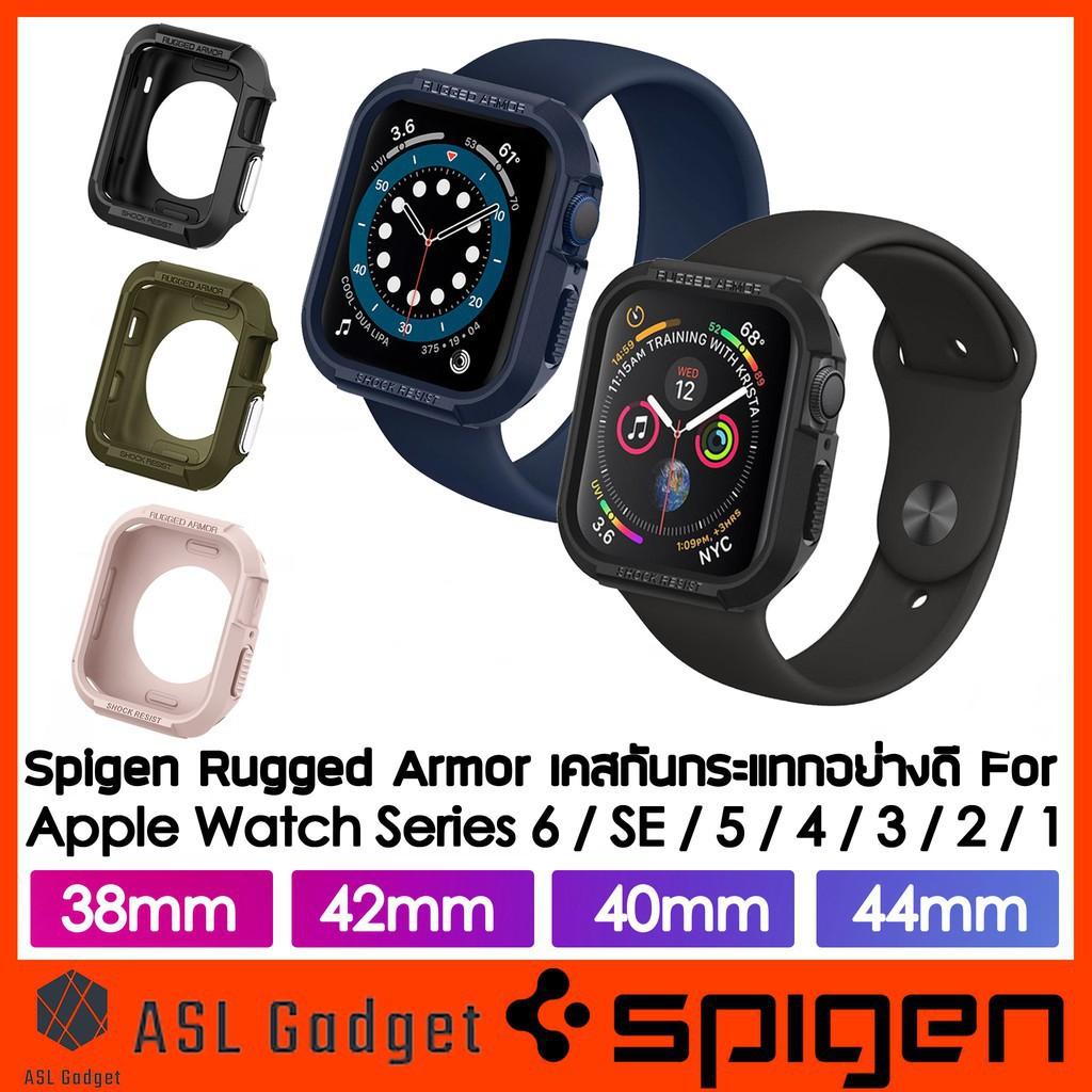 【สไตล์เกาหลี】 【เครื่องประดับ】 Spigen Rugged Armor Case สำหรับ Apple Watch Series 6/SE/5/4/3/2/1 44mm / 40mm / 42mm / 38m