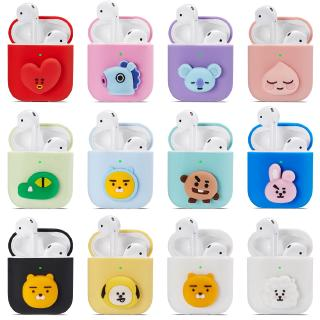 Kakao Friends Bt21 Cute Cartoon Silicone AirPods 1/2 Pro Case Apple Earphone Charging Box Protective Casing Ryan Apeach Cover