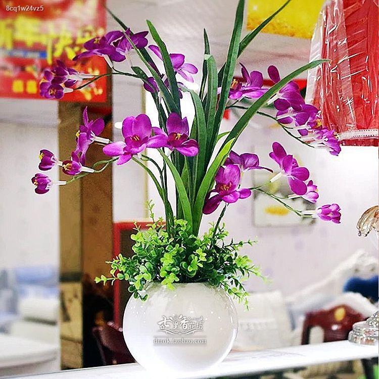 การจำลองพันธุ์ไม้อวบน้ำ∈๑ห้องนั่งเล่นจำลองดอกไม้ดอกไม้ปลอมกระถางเครื่องประดับพืช Phalaenopsis Clivia ดอกไม้ตกแต่งห้องนอน