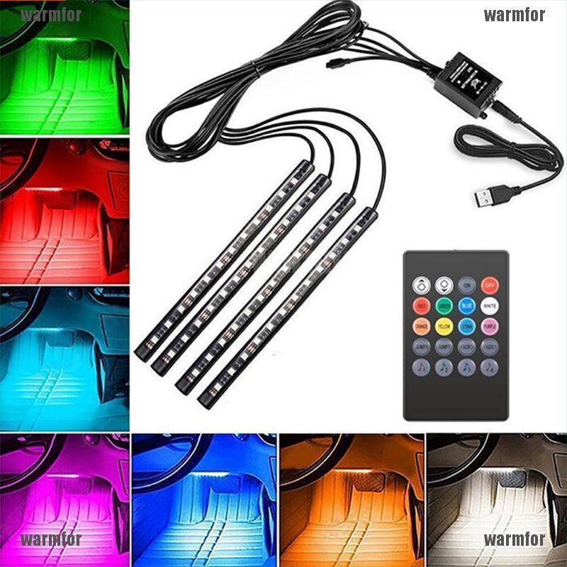 4X 12V 9 12 18 LED Car Interior Strip Lights RGB Color Changing Footwell Lamp