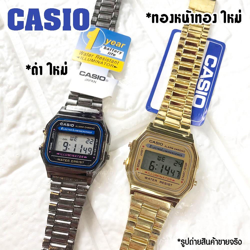 นาฬิกา casio  F-91 สายสแตนเลส คาสิโอสายสีทอง พิ้งค์โกล์ด ดำ เงิน สายเรซิ่นนาฬิกาผู้หญิง