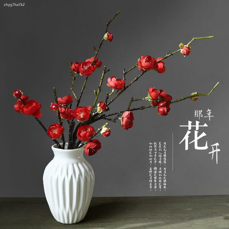 การจำลองพันธุ์ไม้อวบน้ำ❣✷☢ของตกแต่งห้องนั่งเล่น จำลองดอกพลัมกระถางเครื่องประดับเครื่องประดับดอกไม้ปลอมในร่มบ้านพลาสติกดอ