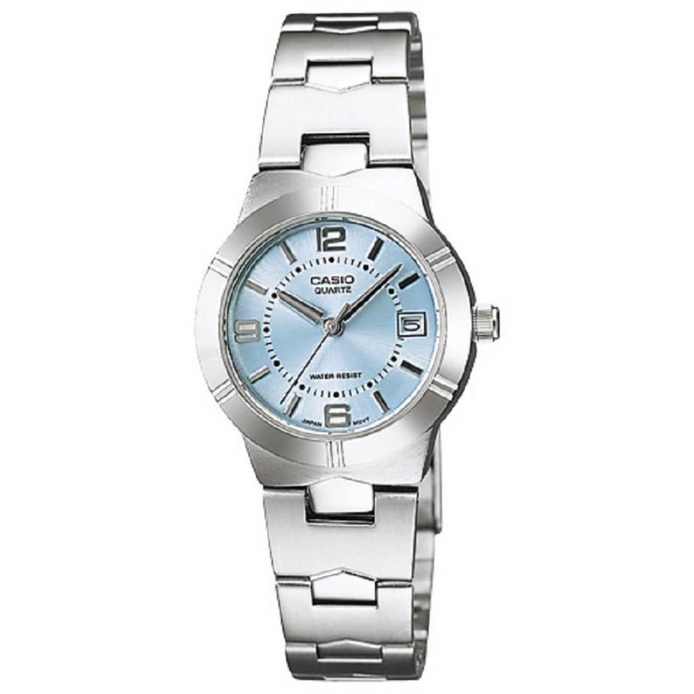 จัดส่งฟรีCasio นาฬิกาข้อมือผู้หญิง สายสแตนเลส รุ่น LTP-1241D-2ADF - สีเงิน/ฟ้า