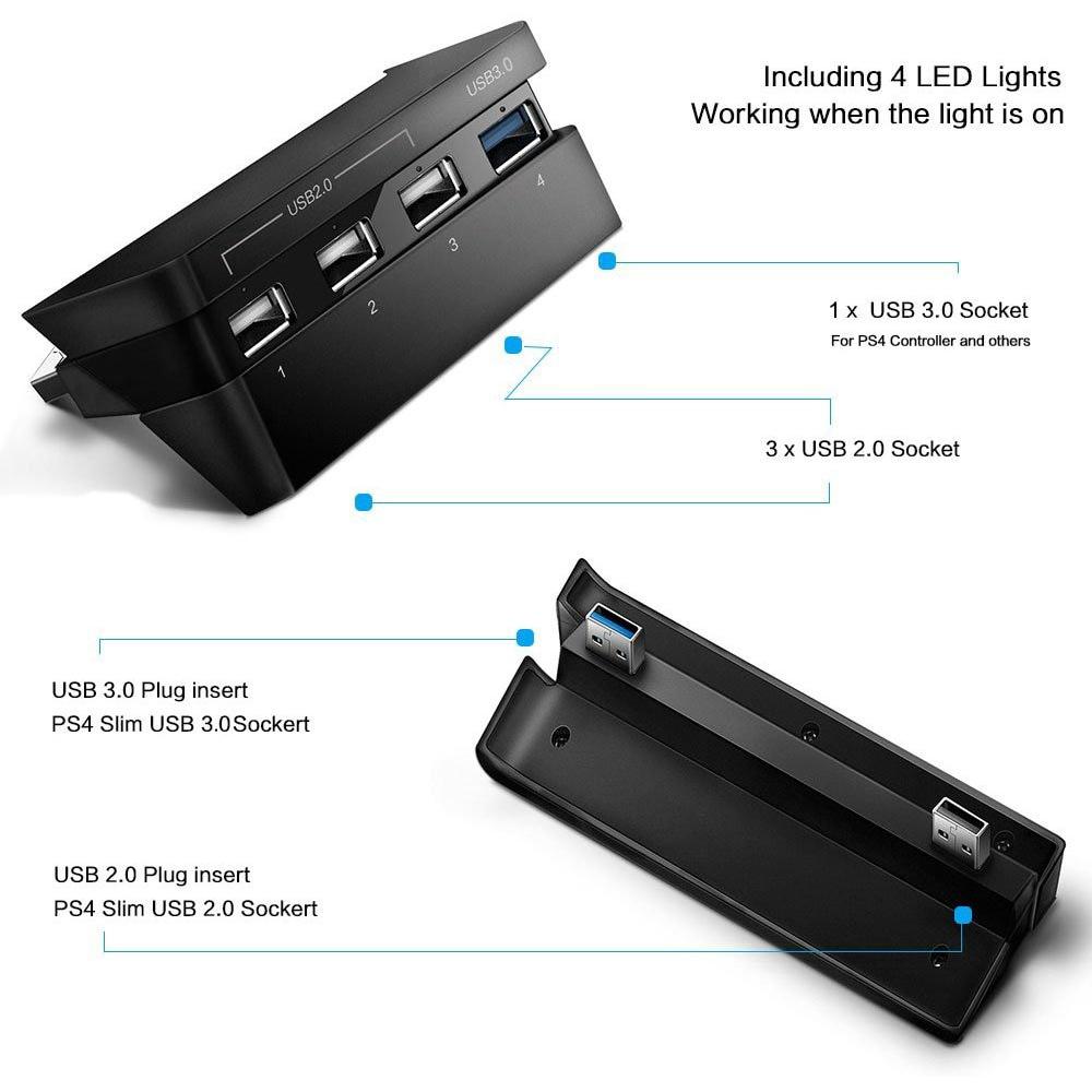 เคสสำหรับ PS 4 Slim Super Transfer Charger Adapter with LED Light 4