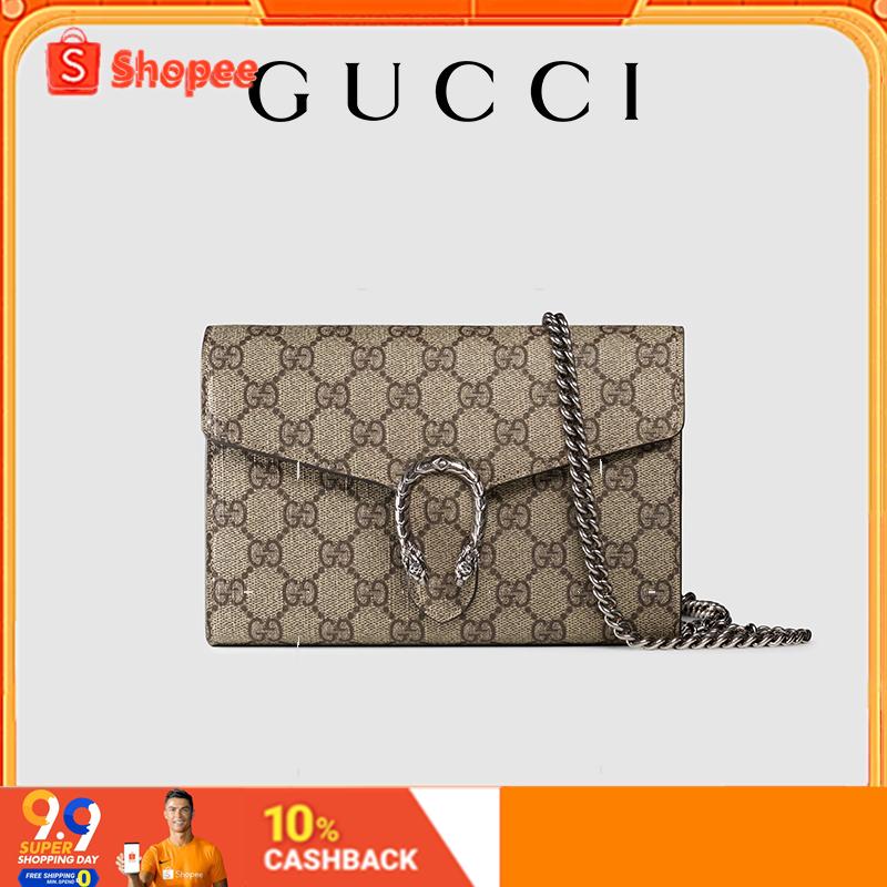 【9.9】Gucci Dionysus GG Supreme Canvas Chain Bag