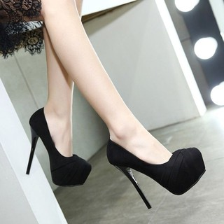 ☫Hate sky 12cm super high heels  new suede sexy nightclub stiletto single shoes women waterproof platform