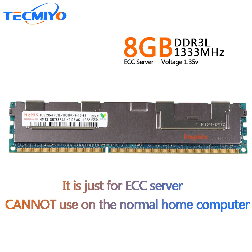 MICRON 8GB 2RX4 PC3L 10600R DDR3 ECC  240 PIN 1.35V LOW VOLTAGE Server memory