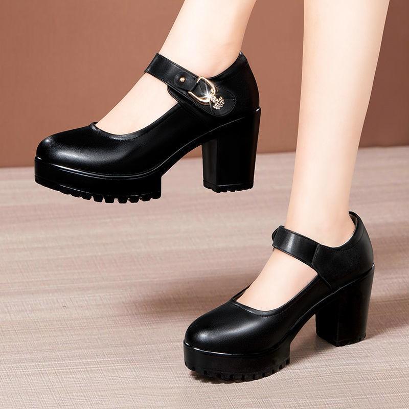 รองเท้าส้นสูง หัวแหลม ส้นเข็ม ใส่สบาย New Fshion รองเท้าคัชชูหัวแหลม  รองเท้าแฟชั่นรองเท้าหนังนิ่มส้นเดี่ยวผู้หญิงส้นหนา