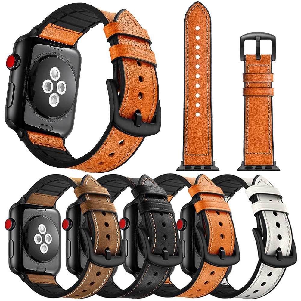 สายนาฬิกาข้อมือหนังนิ่มสําหรับ Apple Watch Band Series 5 4 3