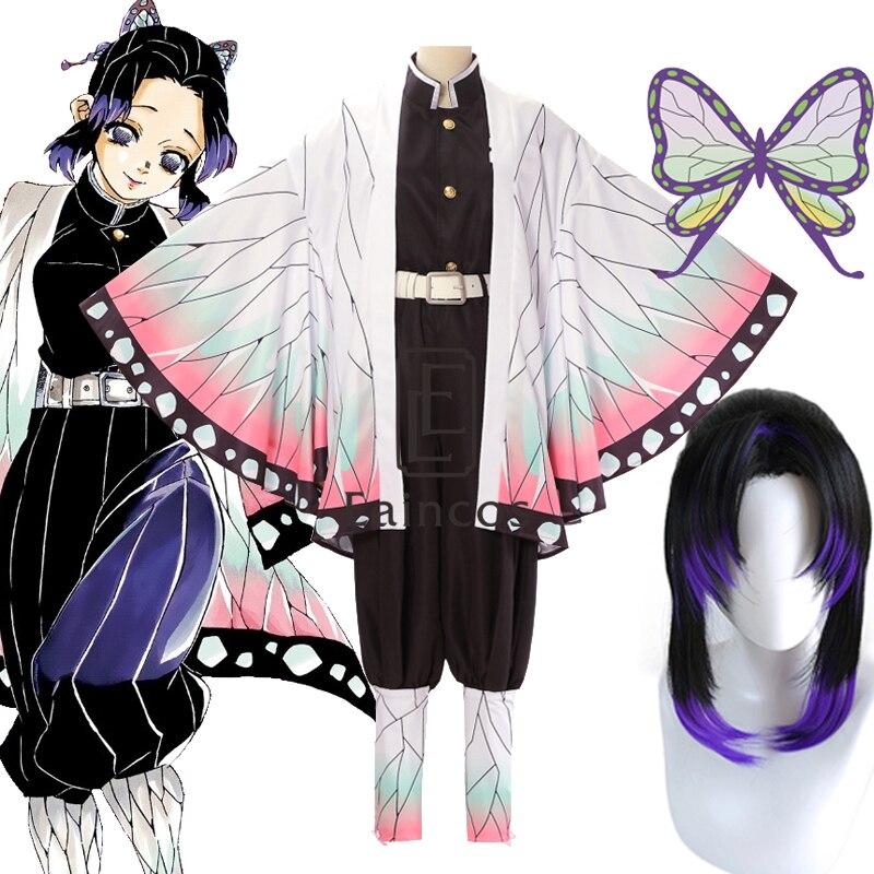 Anime Demon Slayer Kimetsu no Yaiba Kochou Shinobu Cosplay Costume Women Kimono Halloween Party Uniform Wig