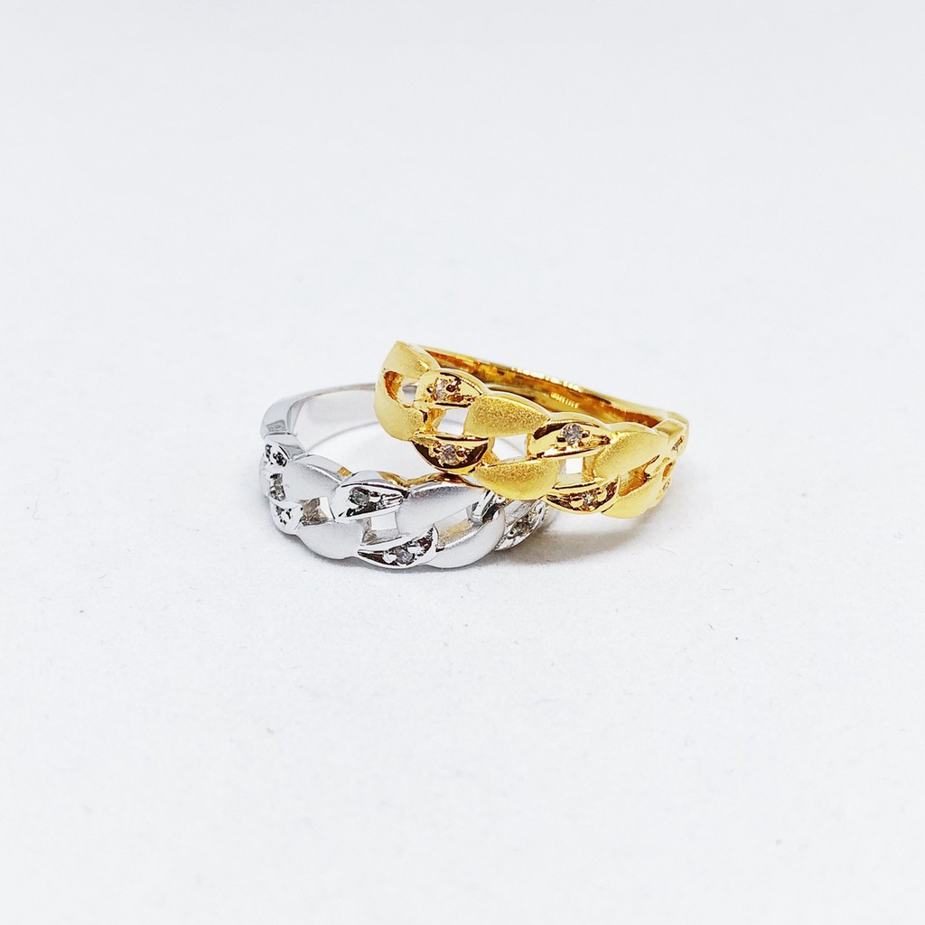 แหวนเพชร cz เกลียว ชุบทองไมครอน และซาติน ทองคำขาว ราคาพิเศษ